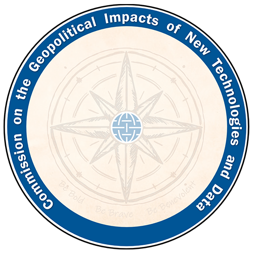 """Logo of the Commission on the Geopolitical Impacts of New Technologies and Data. Includes an 8-point compass rose in the middle with the words """"Be Bold. Be Brave. Be Benevolent"""" at the bottom."""